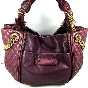 Juicy Couture Purple Leather Satchel Tote Bag